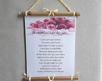 Bridesmaid thank you gift ideas, Personalized wedding poem, To bridesmaid, From bride and groom, Bridesmaid poem, Wedding thank you letter