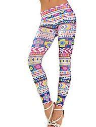 kvinders stilfulde mønster print leggings strække... – DKK kr. 39