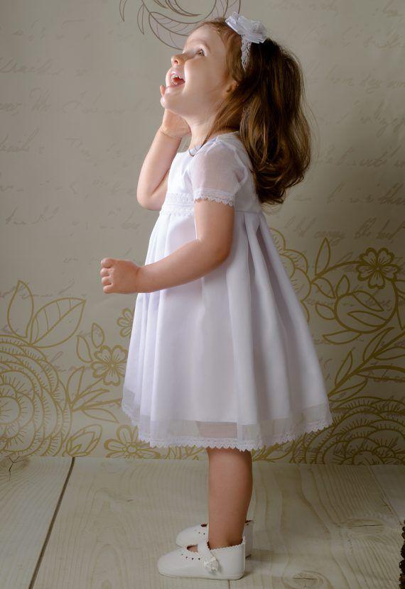47b1acd281 Sukienka do chrztu Rose w stylu boho - biała
