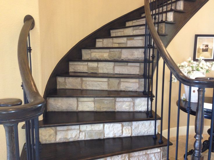 Stone Riser Wood Tread Inexpensive Flooring Farmhouse