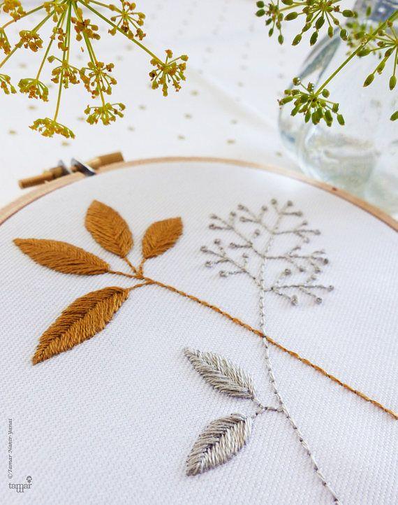 Kit de bordado decoración de la pared oro y gris hojas