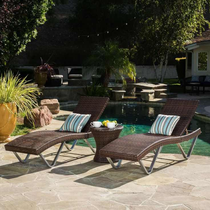 #ad Worrin Multibrown 3pc Chaise Lounge Chair And Table Bring The Tropics  To Your Outdoors