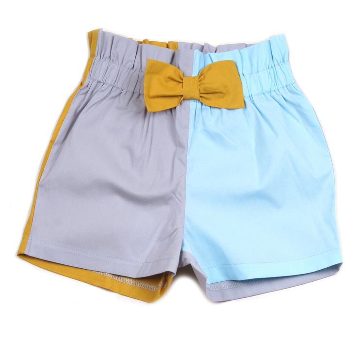 Knast pale aqua, grey & mustard coloured shorts, with mustard colour bow and elasticised waist. 100% cotton. Made in Turkey. $52.95 http://www.danskkids.com.au/collections/spring-summer-2015/products/knast-pil-puffy-shorts-pale-aqua-grey-mustard