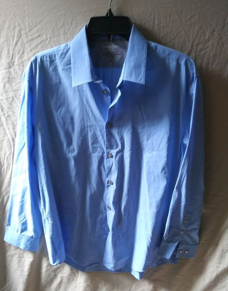 Calvin Klein Extreme Slim Fit Men's Blue Dress Shirt Size 16 Large #CalvinKlein #CalvinKleinSlimFitShirtSizeLarge