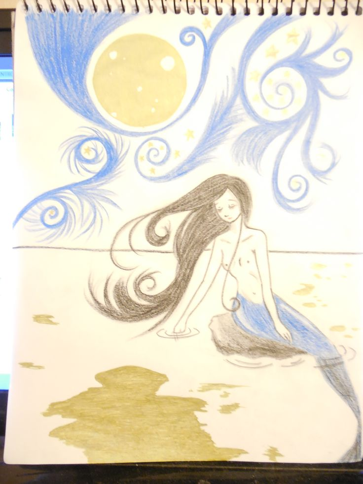 mermaid,moon,sea