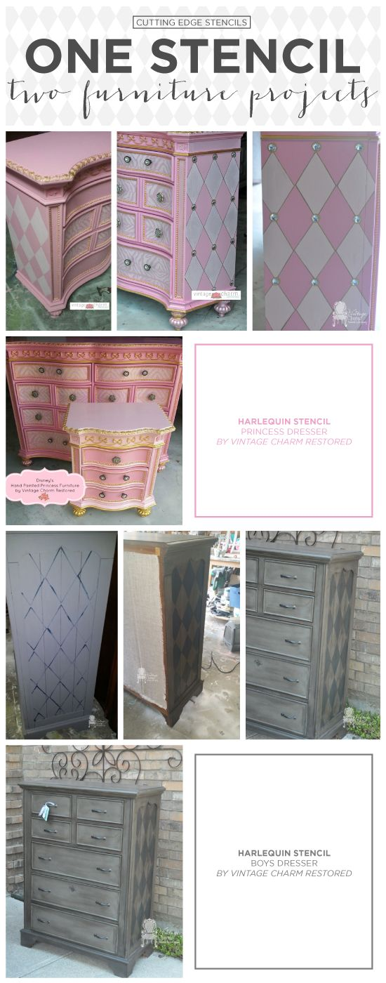 Cutting Edge Stencils shares DIY furniture makeovers using the Harlequin Allover stencil pattern. http://www.cuttingedgestencils.com/harlequin-stencil-pattern.html  #stenciling #furniture #painting