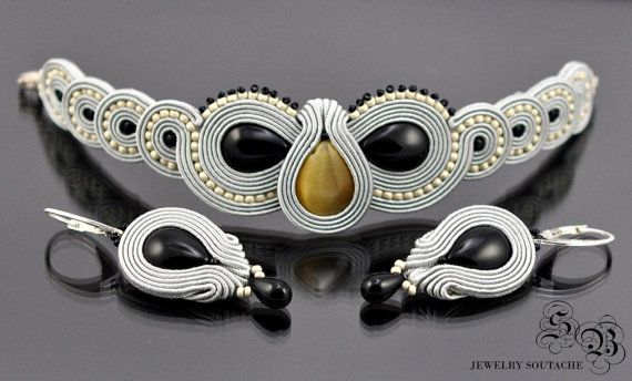 Set of bracelet and earrings,Soutache set,Elegant set,Glamour set,Soutache glamour,Soutache bracelet,Soutache earrings