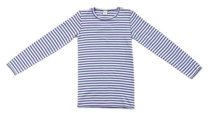lilla grå stribet bluse fra Smallstuff brede striber
