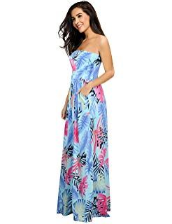 f1bf0d08763 Leadingstar Women Strapless Maxi Vintage Floral Print Graceful Party Long  Dress