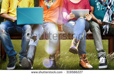 Students Education Social Media Laptop Tablet - stock photo