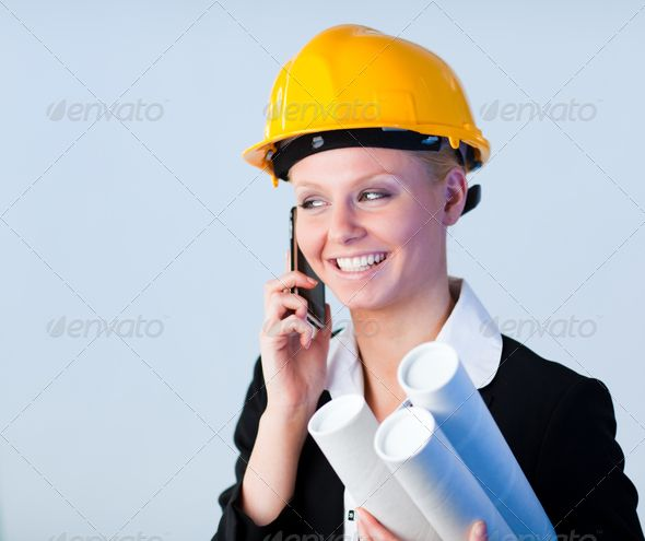 Female engineer on the phone ...  adult, architect, architecture, asian, blueprints, boss, build, builder, business, career, company, construction, control, corporate, design, employee, engineer, engineering, executive, fashion, female, future, girl, handsome, hard, hat, helmet, job, lady, look, male, man, manager, oriental, people, phone, plans, pretty, profession, professional, safety, smart, style, stylish, success, suit, woman, work, workers, yellow