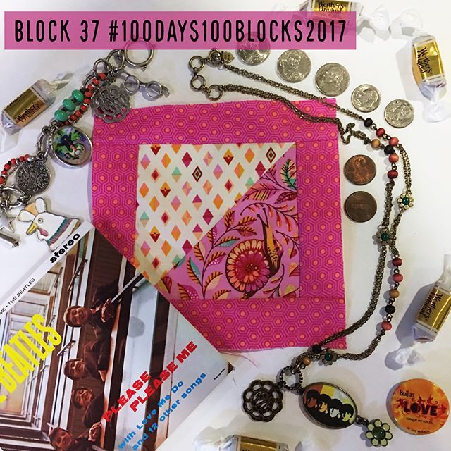 "BLOCK 37  #100days100blocks2017   Block Name: Celebrating Snails  Loved making this block and you know I just love the magic of making triangles!! I enjoyed fussy cutting the  snail in ""Pit Crew"" Fabric of #tulapinkslowandsteady with the race track flags above him and the polka dot Tortoise  shell as a border.  With the pink, I decided to add Beatles jewelry I have with the Beatles first Album published in the US 1964. Of course there is the song Twist and Shout on this Album. I love wearing…"