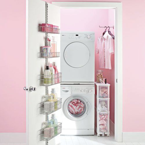 laundry room storage...yup laundry rooms probably should be pink
