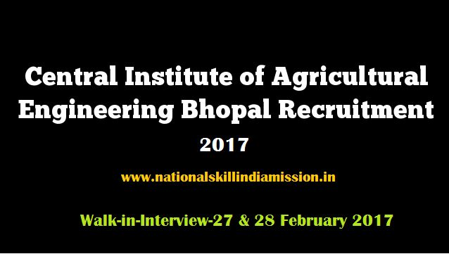 DEGREE/DIPLOMA JOBS  Central Institute of Agricultural Engineering-recruitment-21 vacancies-Engineer/Purchasing & Store Keeping/Various Vacancies-Walk-in-Interview-27 & 28 February 2017  Job Details :  Post Name : Engineer No of Vacancy : 12 Posts Pay Scale : Not Specified Post Name : Purchasing & Store Keeping No of Vacancy : 03 Posts Pay Scale : Not Specified Eligibility Criteria :  Educational Qualification :  For more details click: