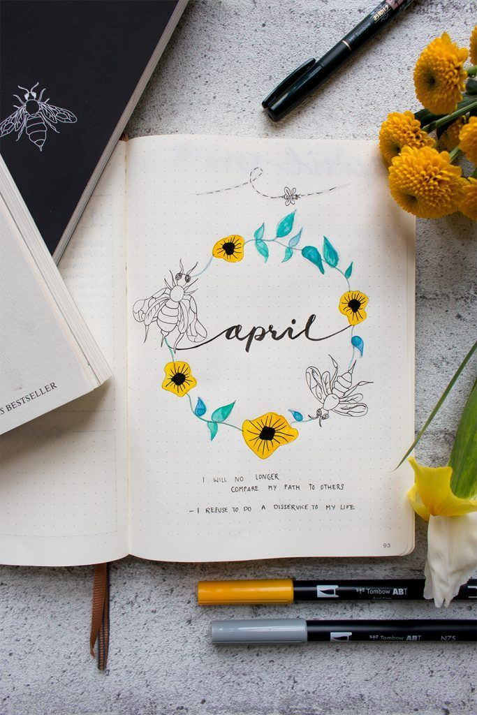 Bullet Journal Setup April: Rupi Kaur Inspired