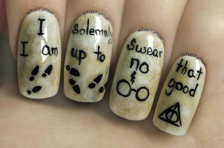 Harr Potter World Inspired Nail Art