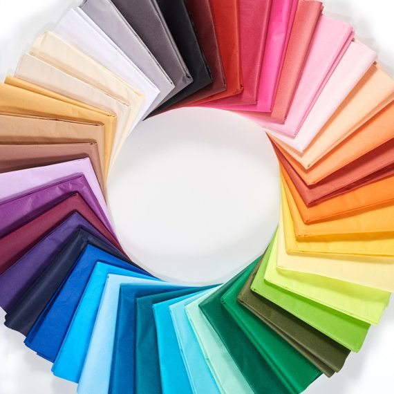 Enjoy a variety of colors with our bulk packs of tissue paper. Choose up to 5 colors with 24 sheets in each pack!! TO MAKE YOUR COLOR SELECTIONS: please look at the FIRST photo above and the color names listed below. The color names start at the top center of the color wheel photo (with