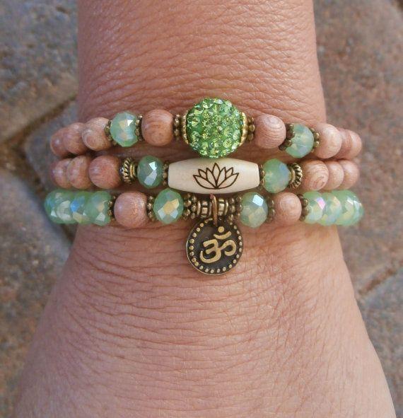 Set of 3 Yoga bracelets Choose word Om Pave