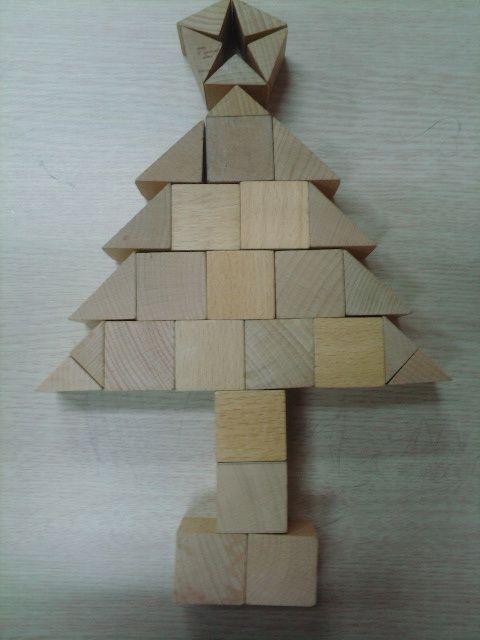 Bouwkaart voor kleuters kerstboom
