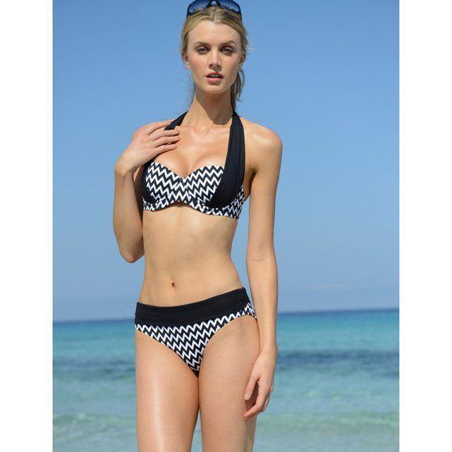 Womens white crochet halter neck bikini top