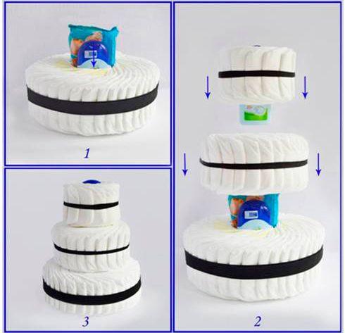 Мастер-класс как сделать торт из памперсов на три яруса.