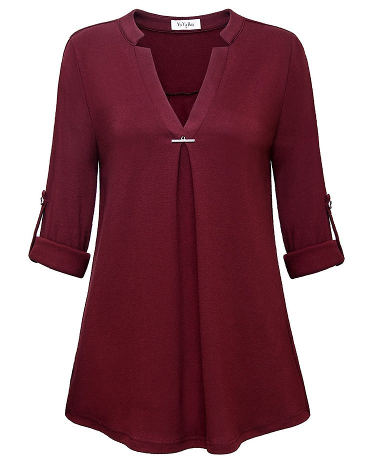 YaYa Bay Women's Fashion V-Neck Blouses Long Sleeved 3/4 Roll-Up Sleeve Pullover Casual Tunic Shirt Blouse Tops