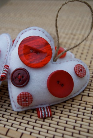 Button and Felt Heart Ornaments