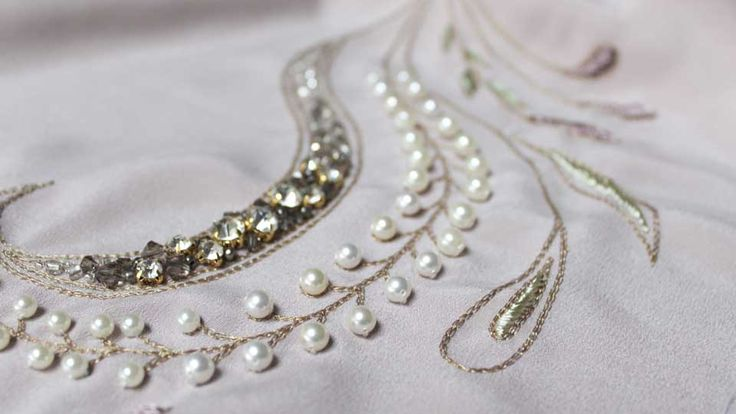 Pearl and crystal embroidery for Reem Juan