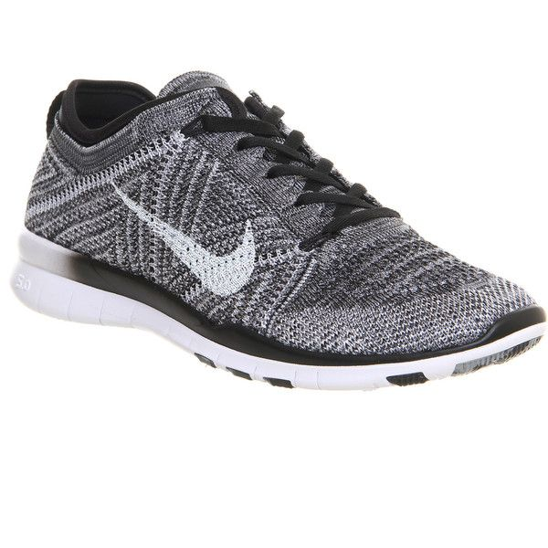 new styles 1cd55 3dff5 Nike Free Tr Flyknit ( 160) ❤ liked on Polyvore featuring shoes, athletic  shoes, nike, trainer, black white wolf grey, hers traine…