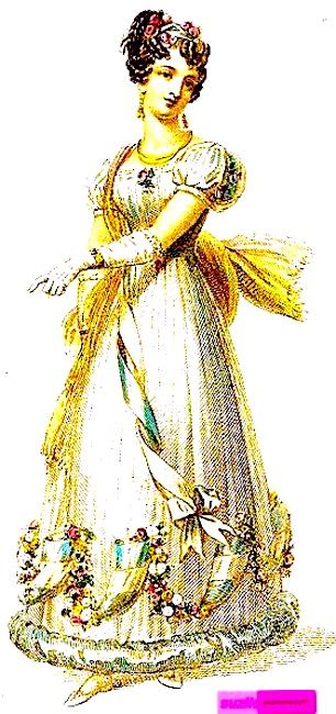 1826  June.   Ball Dress, English.    Empire waisted, with sash and looped ribbon and flowers trim, puffed sleeves and long gloves.   Engraved Plate via Rudolph Ackermann's 'The Repository' of Arts. via Google Books (PD-150)  suzilove.com