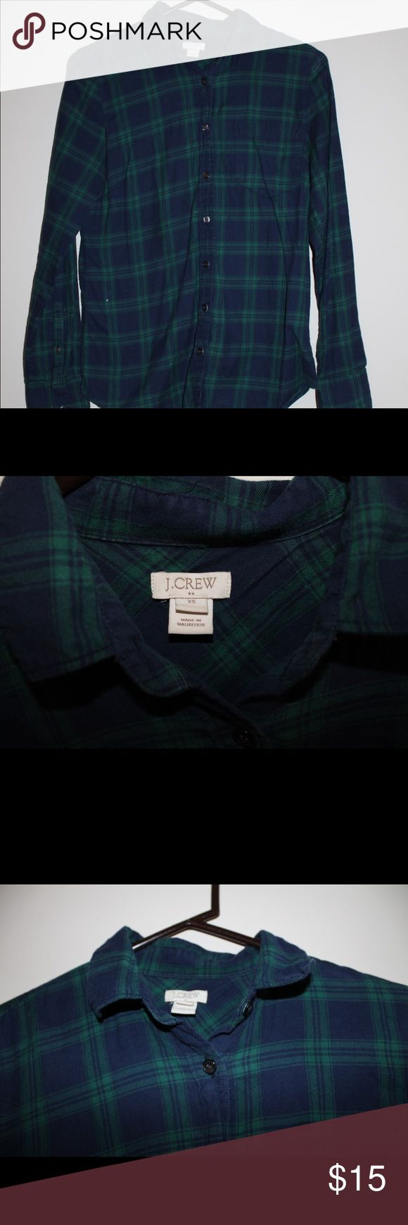 J.Crew Green and Blue Plaid Flannel Size XS -Great condition -Flannel material J. Crew Tops