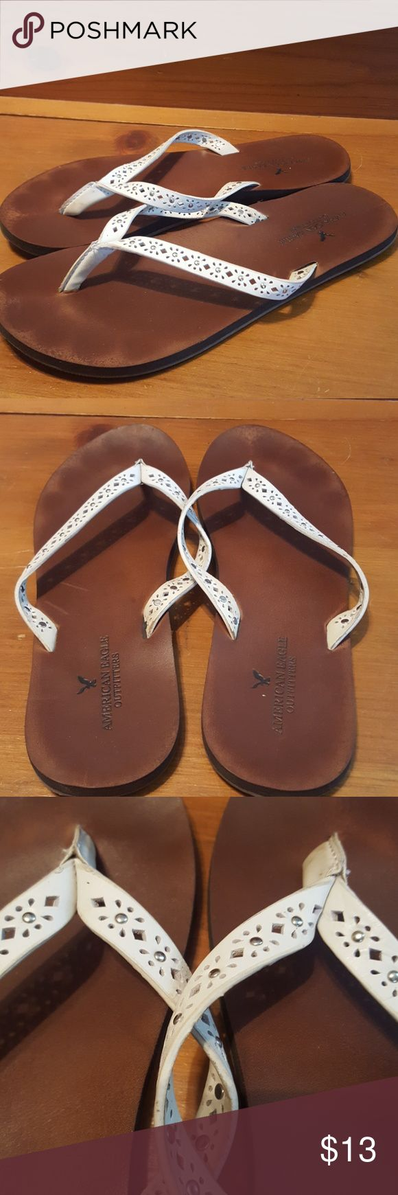 American Eagle Outfitters leather flip flops American Eagle Outfitters brown and white, leather flip flops with silver detailing, size 8 American Eagle Outfitters Shoes Sandals