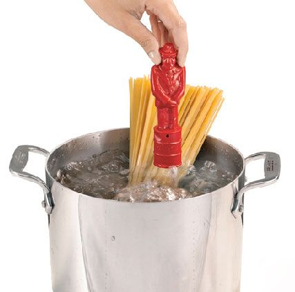 It's a pasta timer in the shape of a little man, which gets dropped into the pasta water as it boils. And then it gets really weird: when the water has been boiling long enough, the timer man sings. Sings opera.