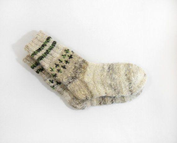 Hand Knitted Dog Wool Socks  BrownBeige by UnlimitedCraftworks