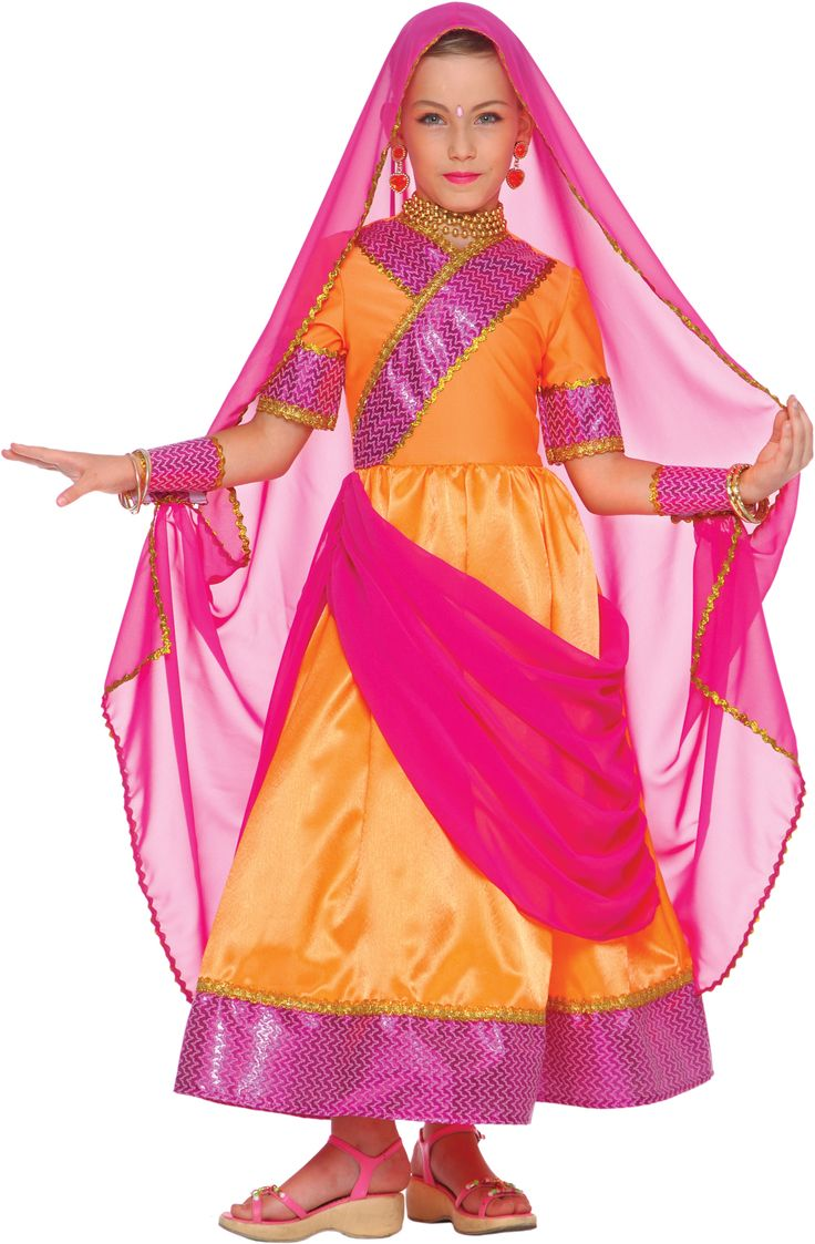 Bollywood Prinzessin Kostüm für Mädchen: Dieses Bollywood Prinzessin Kostüm für Mädchen besteht aus einem kurzärmligenKleid, Schleier und Ärmeln.Ein leuchtendes rosa Gewebe ist auf dem gesammten Outfit und an...
