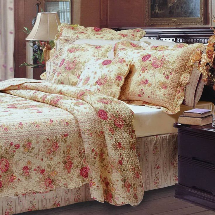 Romantic Chic Shabby Cottage Roses 100 percent Cotton Re versibleQuilt and Shams Set. The bedding set features Scalloped Edges and is reversible to a Rosette and Ticking Stripe pattern. Made of 100% cotton cover and fill. The best quilts are made from 100% Cotton for comfort and durability. #rustic #country