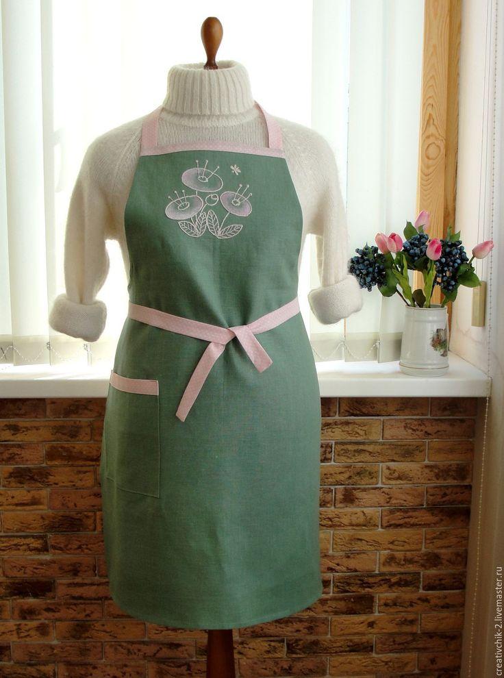 Купить Фартук для кухни Розовые цветы - фартук для кухни лен, фартук для кухни