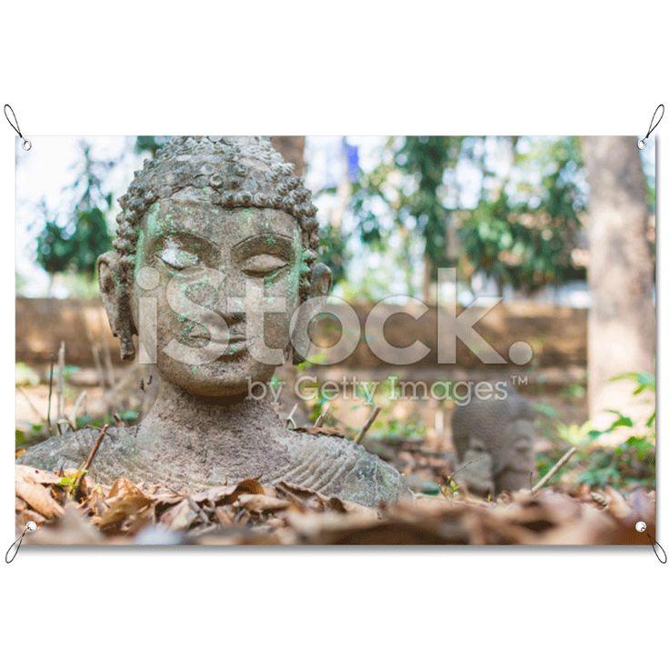 Tuinposter Boeddha   Maak je tuin nog mooier met een weerbestendige tuinposter van YouPri. Bewezen kleurbehoud! #tuinposter #tuindoek #tuin #poster #weerbestendig #kleurbehoud #frontlit #goedkoop #voordelig #spanners #ogen #boeddha #heilig #beeld #standbeeld #bladeren #steen