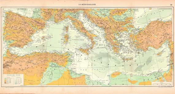Large Antique Map of the Mediterranean Sea and by CarambasVintage