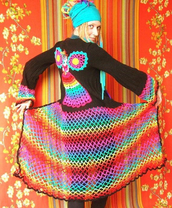 Fairy Princess Upcycled Rainbow Sweater Coat #fairy #princess #crochet #sweater #rainbow #coat #cardigan #upcycled