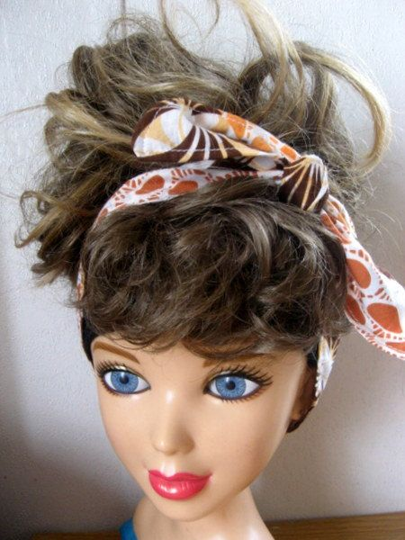Hair Scarf, Bandana, Hair Bandana, Bandana Headband, Hair Band, Hair Scarf, PinUp Bandana, Knotted HairBand, Boho Head Band #260 by StitchesByAlida on Etsy