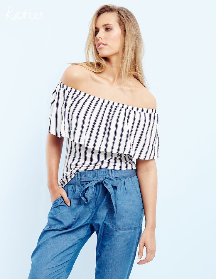 CHAMBRAY CHIC / The essential soft pant for summer gets an update in casual cool chambray. With just the right amount of tailoring to dress up or down, an off the shoulder top is the perfect pairing for a touch of glamour.