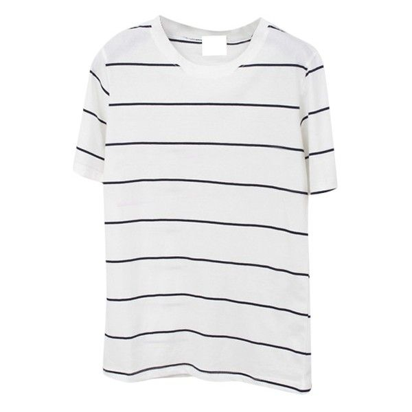 Thin Stripe Short Sleeve Basic T-Shirt (3.085 HUF) ❤ liked on Polyvore featuring tops, t-shirts, basic tee-shirt, short sleeve tee, basic t shirt, basic tee shirts and basic tee