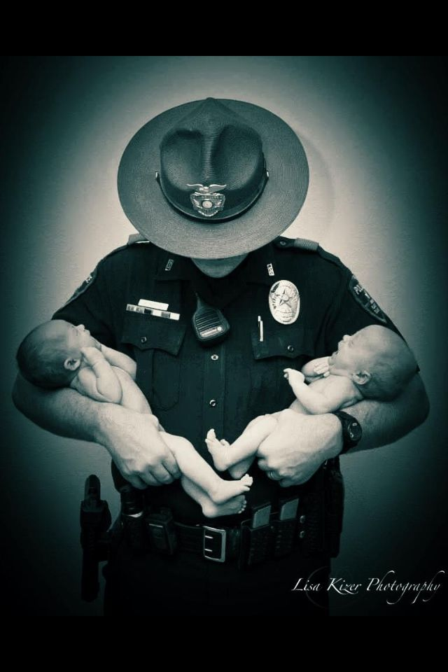 ❤This is my cousin and his twin daughters. This would be cool with any police, military, fire, etc. uniform and baby/babies