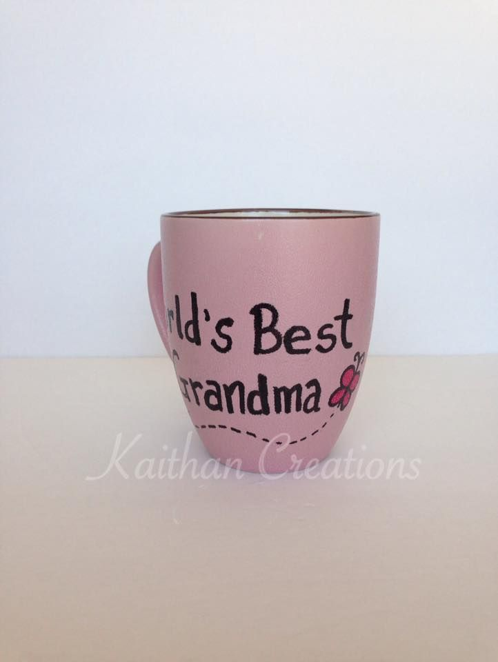 World's Best Grandma Mug with Butterfly by Kaithan Creations. Can be personalized, visit my Facebook page to place your order. https://www.facebook.com/kaithancreations/photos/pcb.478082909058128/478082859058133/?type=3