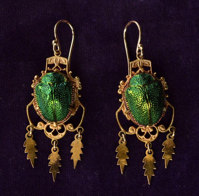 1880s Victorian Scarab Earrings