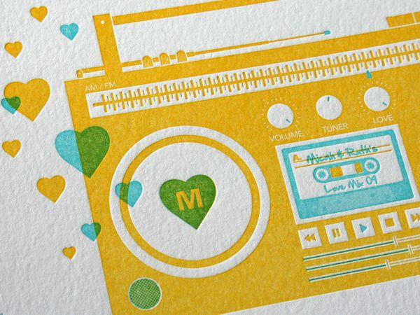 Bumpin' Boombox and Mix Tape Wedding Invitations (5 Photos) - My Modern Metropolis