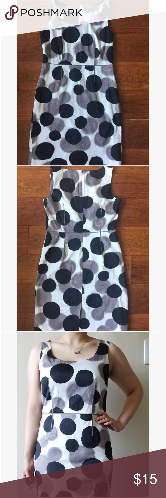 Ann Taylor Petite summer dress White dress with black and slate dots, in excellent preloved condition, perfect for any summer party! Ann Taylor Dresses