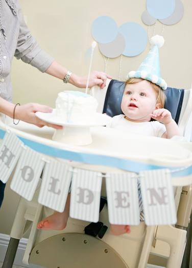 High chair decor. Would be cute to do this for 1st birthday