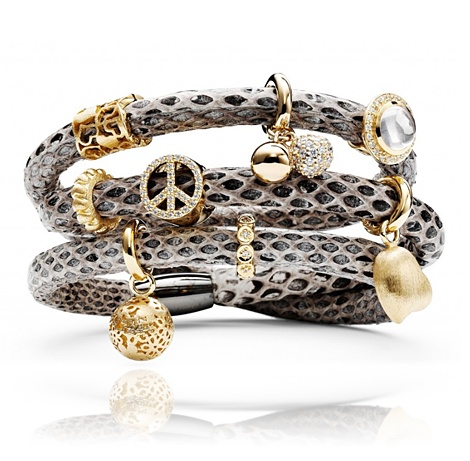 Snake Skin Story Bracelet with Gold Charms